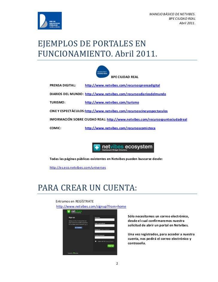 MANEJO BÁSICO DE NETVIBES.                                                                           BPE CIUDAD REAL      ...