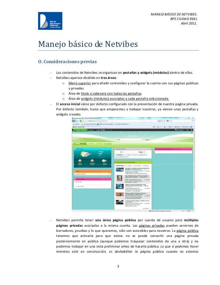 MANEJO BÁSICO DE NETVIBES.                                                                                 BPE CIUDAD REAL...