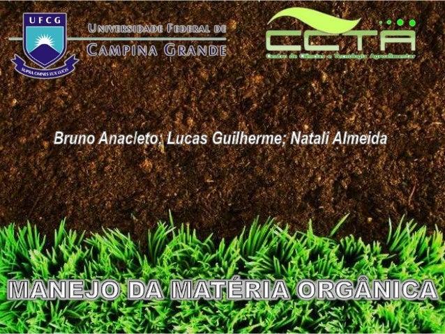 INTRODUÇÃO O termo matéria orgânica refere-se ás porções não- minerais sólidas do solo originadas dos resíduos dos animais...