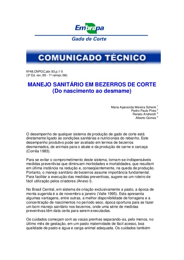 Nº48,CNPGC,abr.93,p.1-5 (3ª Ed. rev./95 - 1ª reimpr./96) MANEJO SANITÁRIO EM BEZERROS DE CORTE (Do nascimento ao desmame) ...