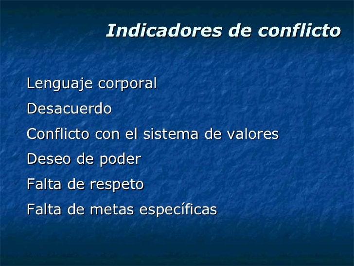 Indicadores de conflicto <ul><li>Lenguaje corporal </li></ul><ul><li>Desacuerdo </li></ul><ul><li>Conflicto con el sistema...