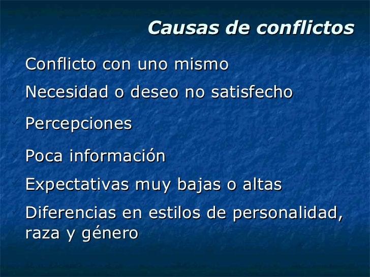Causas de conflictos <ul><li>Conflicto con uno mismo </li></ul><ul><li>Necesidad o deseo no satisfecho </li></ul><ul><li>P...
