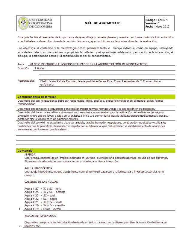 GUÍA DE APRENDIZAJE Código: FAH6-4 Versión: 1 Fecha: Mayo 2012 Esta guía facilita el desarrollo de los procesos de aprendi...