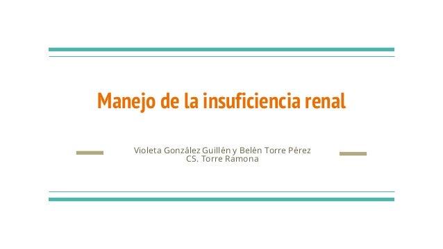 Manejo de la insuficiencia renal Violeta González Guillén y Belén Torre Pérez CS. Torre Ramona