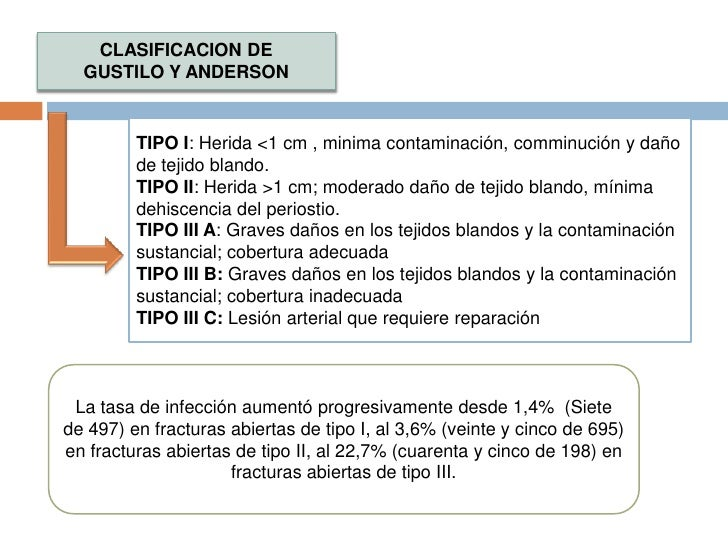 CLASIFICACION DE <br />GUSTILO Y ANDERSON<br />TIPO I: Herida <1 cm , minima contaminación, comminución y daño de tejido b...