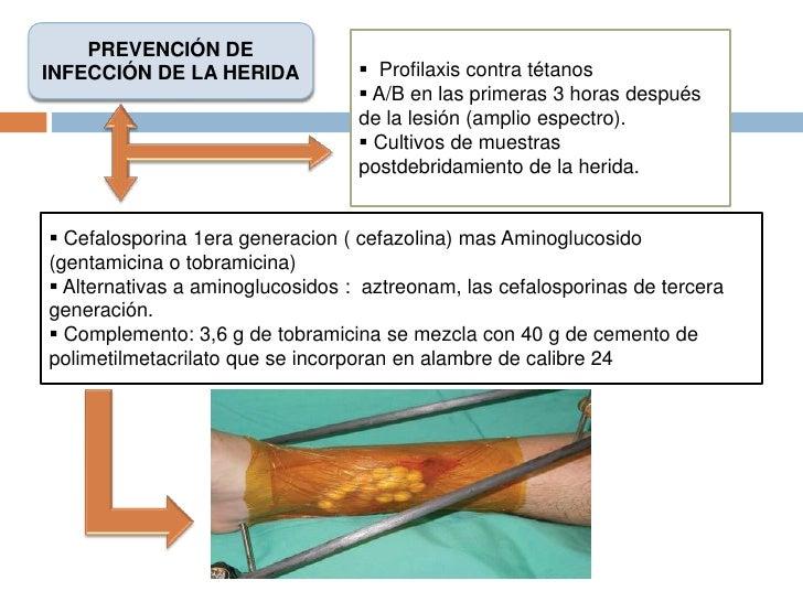 PREVENCIÓN DE INFECCIÓN DE LA HERIDA<br /><ul><li>  Profilaxis contra tétanos