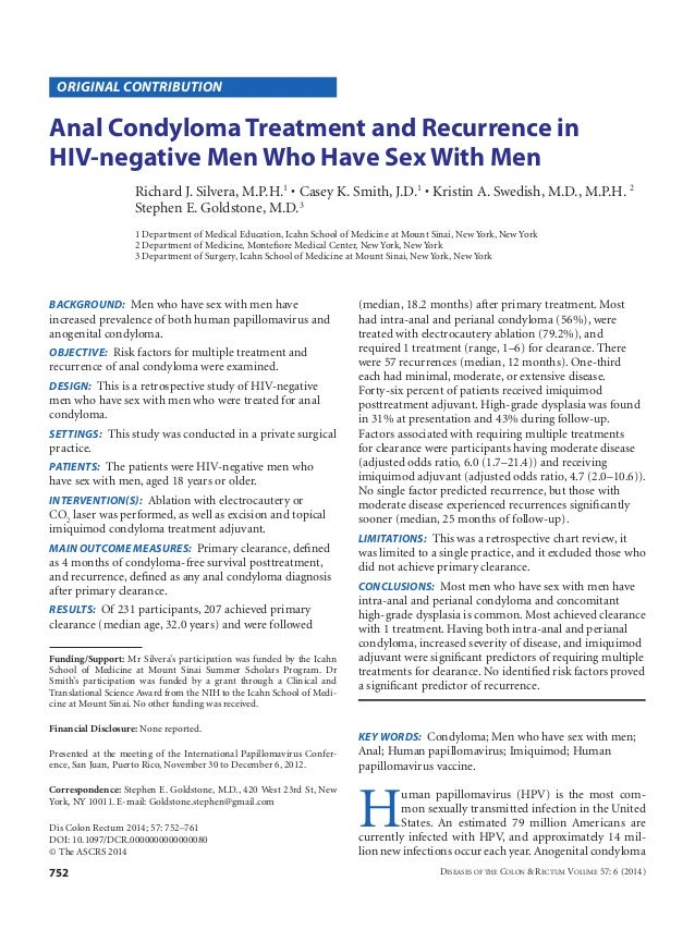 752 Diseases of the Colon & Rectum Volume 57: 6 (2014) BACKGROUND: Men who have sex with men have increased prevalence of...