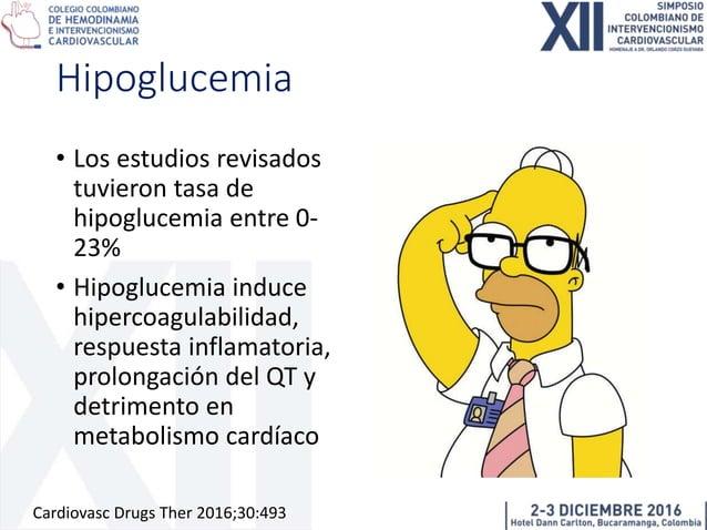 Reserva de flujo sanguíneo miocárdico se reduce en hipoglucemia 14% 22% Cardiovasc Drugs Ther 2016;30:493