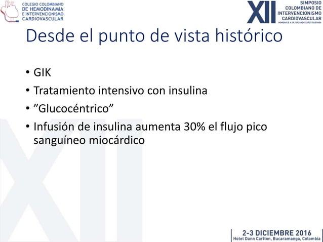 """GIK • """"Ofrecer"""" a cardiomiocito la glucosa como fuente energética principal, en vez de FFA • Insulina suprime la presencia..."""