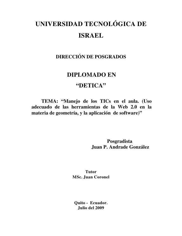 UNIVERSIDAD TECNOLÓGICA DE                     ISRAEL             DIRECCIÓN DE POSGRADOS                  DIPLOMADO EN    ...