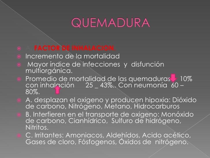 QUEMADURA <br />A.FACTOR DE INHALACION.<br />Incremento de la mortalidad <br /> Mayor índice de infecciones  y  disfunción...