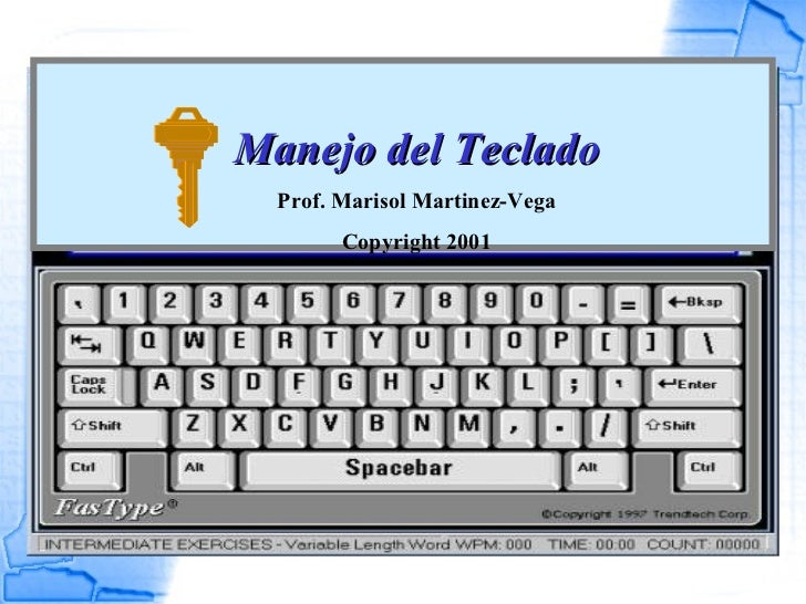 Manejo del Teclado   Prof. Marisol Martinez-Vega         Copyright 2001
