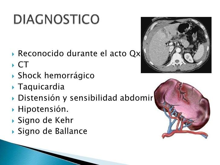Reconocido durante el acto Qx.<br />CT<br />Shock hemorrágico<br />Taquicardia<br />Distensión y sensibilidad abdominal<br...