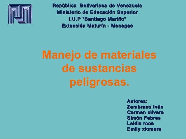 "República Bolivariana de Venezuela  Ministerio de Educación Superior       I.U.P ""Santiago Mariño""    Extensión Maturín - ..."