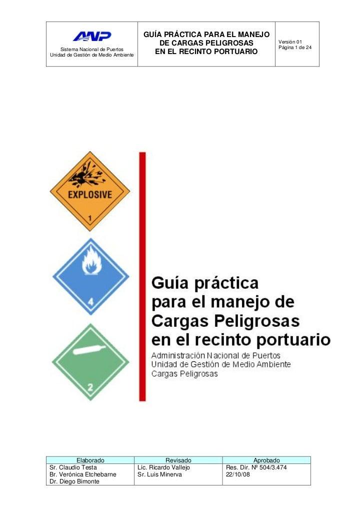 GUÍA PRÁCTICA PARA EL MANEJO                                            DE CARGAS PELIGROSAS                Versión 01    ...