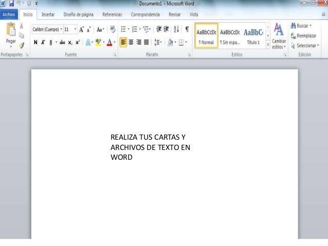 REALIZA TUS CARTAS Y ARCHIVOS DE TEXTO EN WORD
