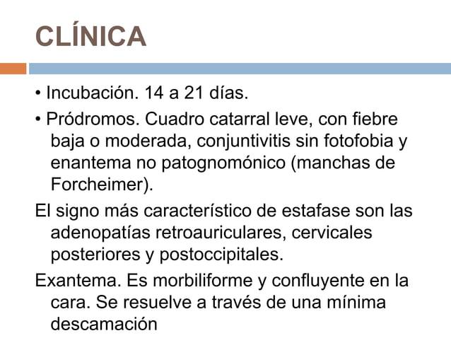 CLÍNICA• Incubación. 14 a 21 días.• Pródromos. Cuadro catarral leve, con fiebre   baja o moderada, conjuntivitis sin fotof...