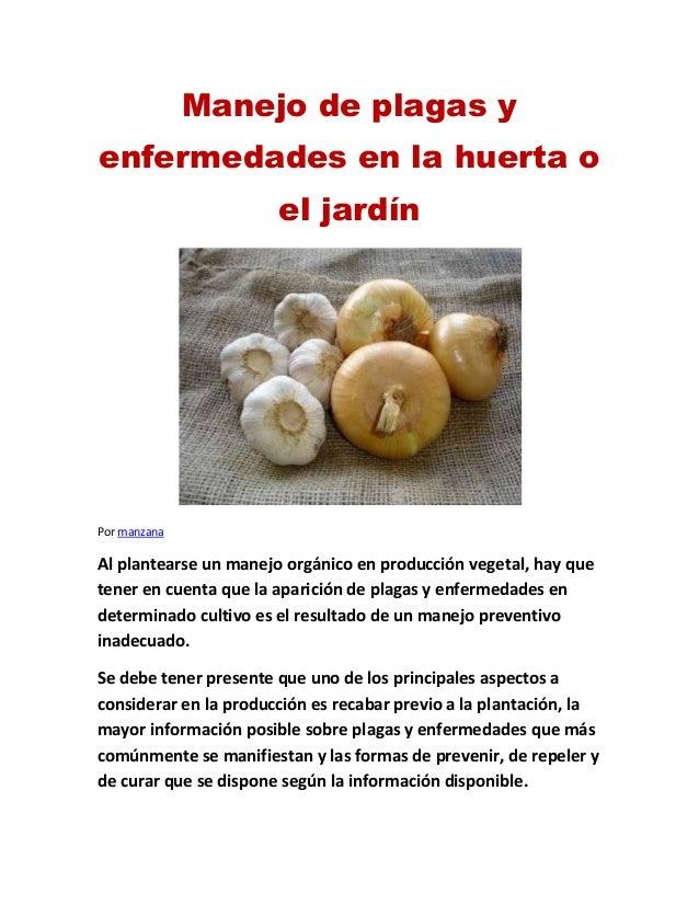 Manejo de plagas y enfermedades en la huerta o el jardín Por manzana Al plantearse un manejo orgánico en producción vegeta...