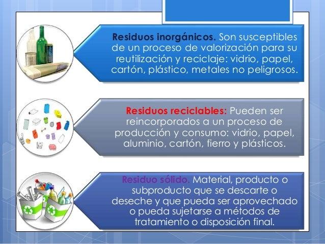 Residuos inorgánicos. Son susceptibles de un proceso de valorización para su reutilización y reciclaje: vidrio, papel, car...