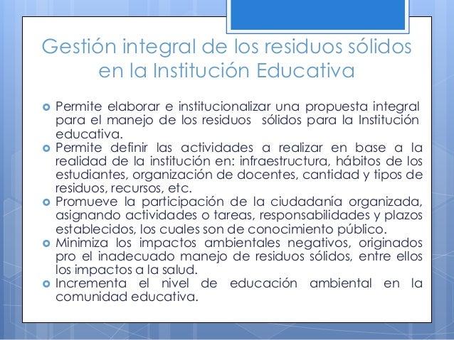 Etapa 2: Diseño del plan de minimización y reaprovechamiento de residuos sólidos en la Institución Un modelo de formato qu...