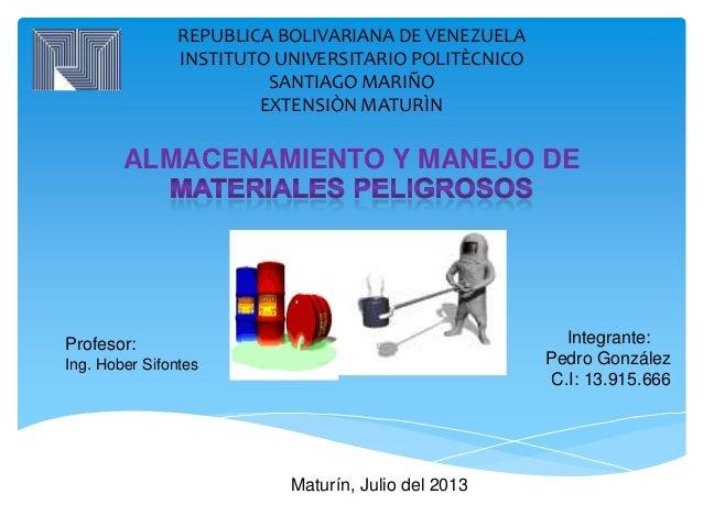 REPUBLICA BOLIVARIANA DE VENEZUELA INSTITUTO UNIVERSITARIO POLITÈCNICO SANTIAGO MARIÑO EXTENSIÒN MATURÌN ALMACENAMIENTO Y ...