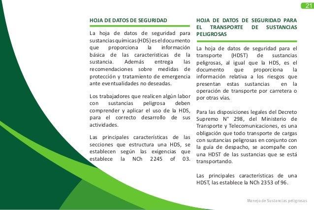 21 Manejo de Sustancias peligrosas HOJA DE DATOS DE SEGURIDAD La hoja de datos de seguridad para sustanciasquímicas(HDS)es...