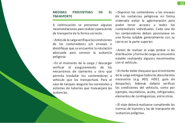 32 MEDIDAS PREVENTIVAS EN EL TRANSPORTE A continuación se presentan algunas recomendaciones para realizar operaciones de t...
