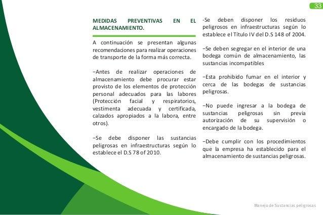 33 Manejo de Sustancias peligrosas MEDIDAS PREVENTIVAS EN EL ALMACENAMIENTO.  A continuación se presentan algunas recomen...