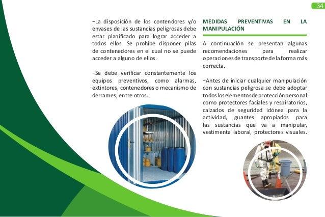 34 MEDIDAS PREVENTIVAS EN LA MANIPULACIÓN A continuación se presentan algunas recomendaciones para realizar operacionesdet...