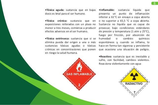6 •Tóxica aguda: sustancia que en bajas dosis es letal para el ser humano. •Tóxica crónica: sustancia que en exposiciones ...