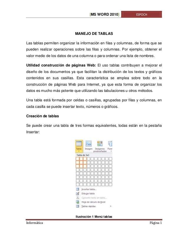 [MS WORD 2010]  ESPOCH  MANEJO DE TABLAS Las tablas permiten organizar la información en filas y columnas, de forma que se...