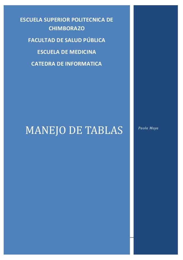 0  ESCUELA SUPERIOR POLITECNICA DE CHIMBORAZO FACULTAD DE SALUD PÚBLICA ESCUELA DE MEDICINA CATEDRA DE INFORMATICA  MANEJO...