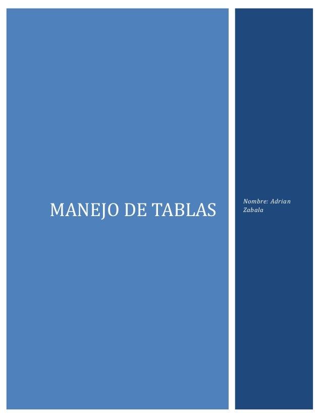 MANEJO DE TABLAS  Nombre: Adrian Zabala