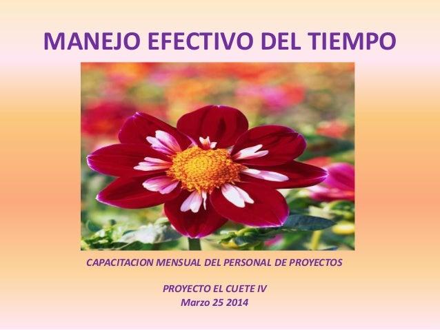 MANEJO EFECTIVO DEL TIEMPO CAPACITACION MENSUAL DEL PERSONAL DE PROYECTOS PROYECTO EL CUETE IV Marzo 25 2014