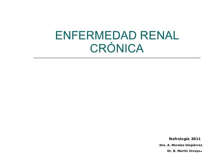 ENFERMEDAD RENAL CRÓNICA Nefrología 2011 Dra. A. Morales Umpiérrez Dr. B. Martín Urcuyo .