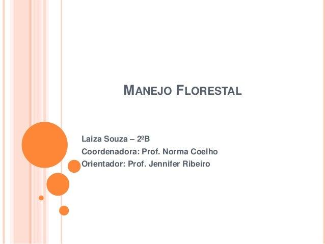 MANEJO FLORESTAL Laiza Souza – 2ºB Coordenadora: Prof. Norma Coelho Orientador: Prof. Jennifer Ribeiro