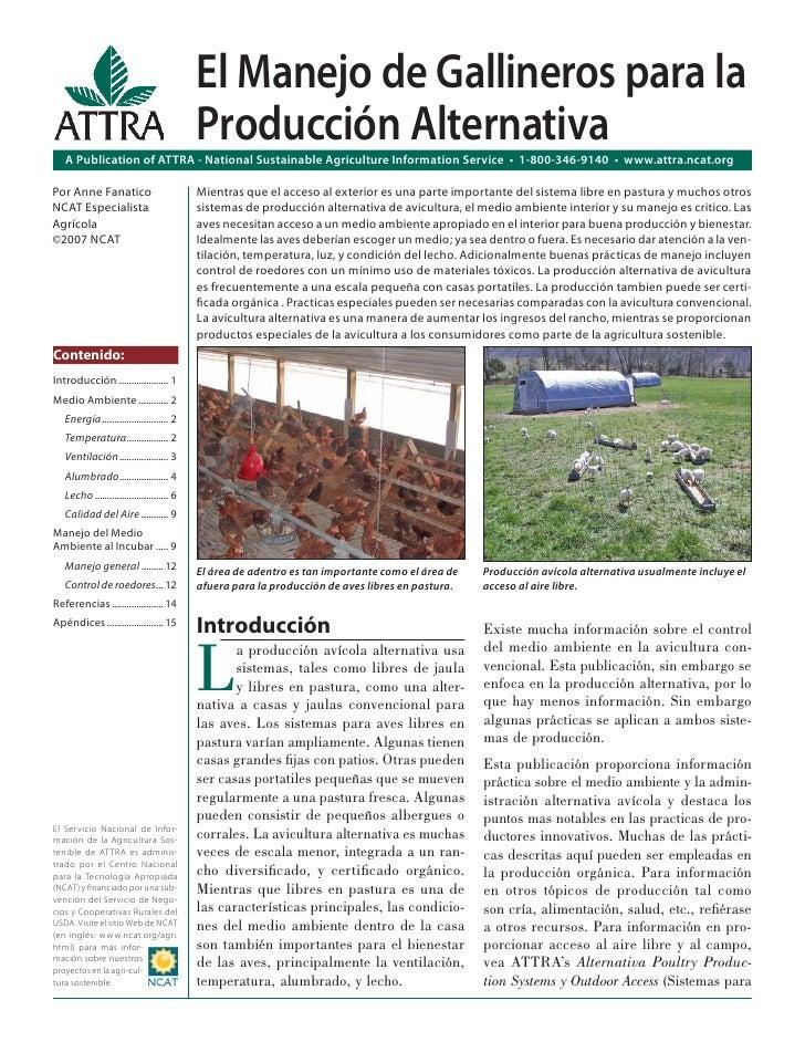 El Manejo de Gallineros para la                                            Producción Alternativa   A Publication of ATTRA...