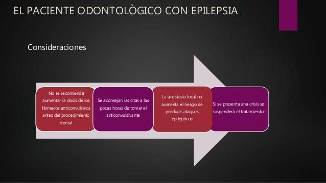 EL PACIENTE ODONTOLÒGICO CON EPILEPSIA Si se presenta una crisis se suspenderá el tratamiento. No se recomienda aumentar l...