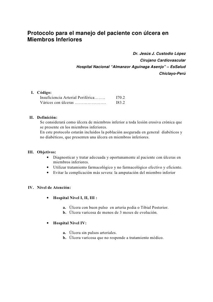 Protocolo para el manejo del paciente con úlcera en Miembros Inferiores                                                   ...