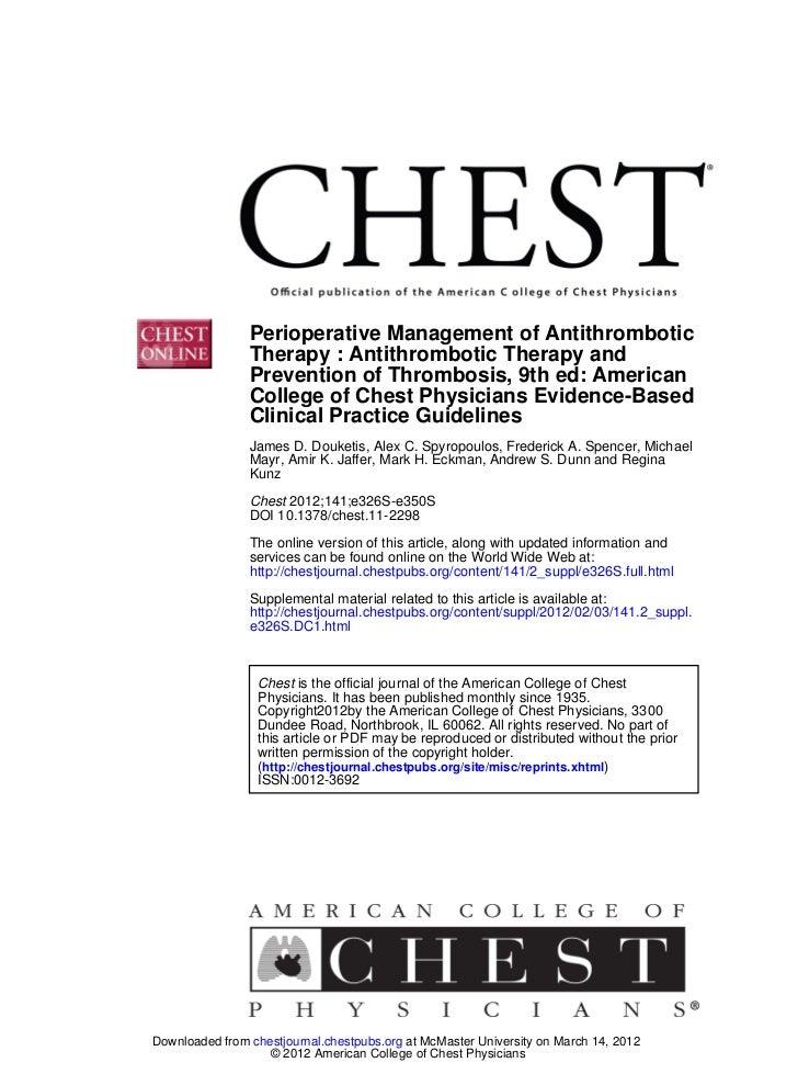 Perioperative Management of Antithrombotic                Therapy : Antithrombotic Therapy and                Prevention o...