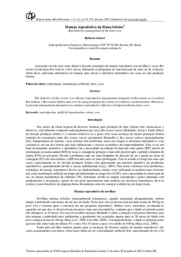 Reprod Anim, Belo Horizonte, v.31, n.2, p.153-159, abr./jun. 2007. Disponível em www.cbra.org.br                          ...