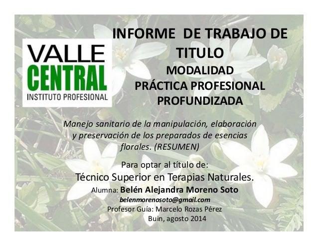 INFORMEDETRABAJODE TITULO MODALIDAD PRÁCTICAPROFESIONAL PROFUNDIZADA Manejosanitariodelamanipulación,elaboraci...