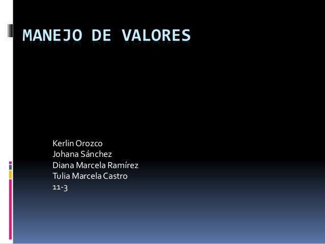 MANEJO DE VALORES  Kerlin Orozco  Johana Sánchez  Diana Marcela Ramírez  Tulia Marcela Castro  11-3