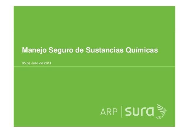 Manejo Seguro de Sustancias Químicas 05 de Julio de 2011 ARP SURA