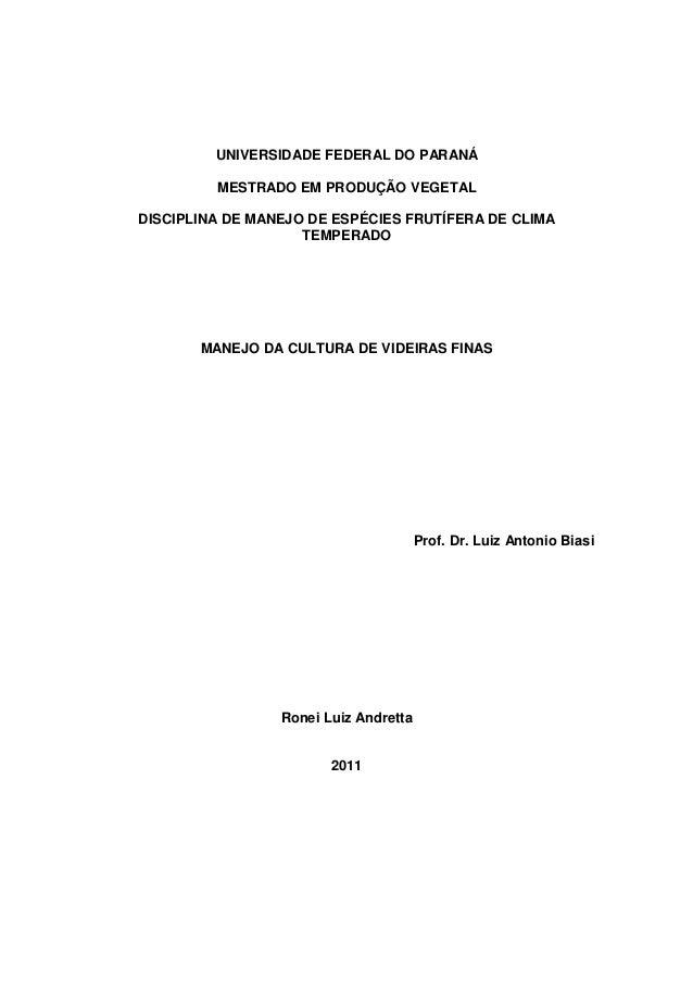 UNIVERSIDADE FEDERAL DO PARANÁ MESTRADO EM PRODUÇÃO VEGETAL DISCIPLINA DE MANEJO DE ESPÉCIES FRUTÍFERA DE CLIMA TEMPERADO ...