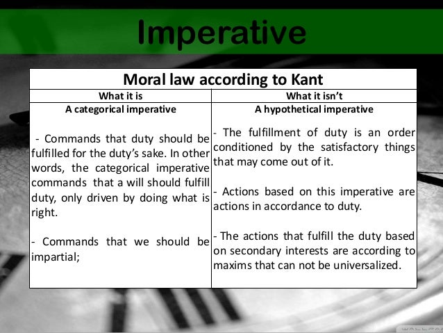 kant hypothetical and categorical imperatives essay Kant: the ethics of duty and reason the imperative would have to be categorical rather than hypothetical categorical imperatives are rational principles.