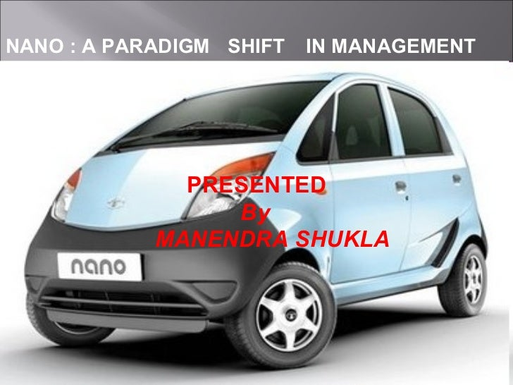 NANO : A PARADIGM SHIFT IN MANAGEMENT PRESENTED  By  MANENDRA SHUKLA