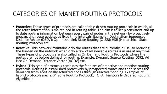 proactive and reactive manet protocols analysis Review and analysis of reactive routing protocols in mobile ad hoc network (manet)  reactive and proactive protocols [7] in reactive or also known as on demand rps routes are  reactive manet routing protocol.