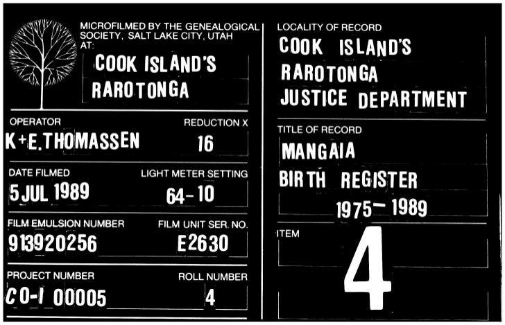 Mangaia birth register 1985-1989