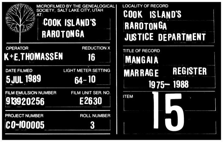Mangaia marrage register 1975 1988 1,650,423 item 15